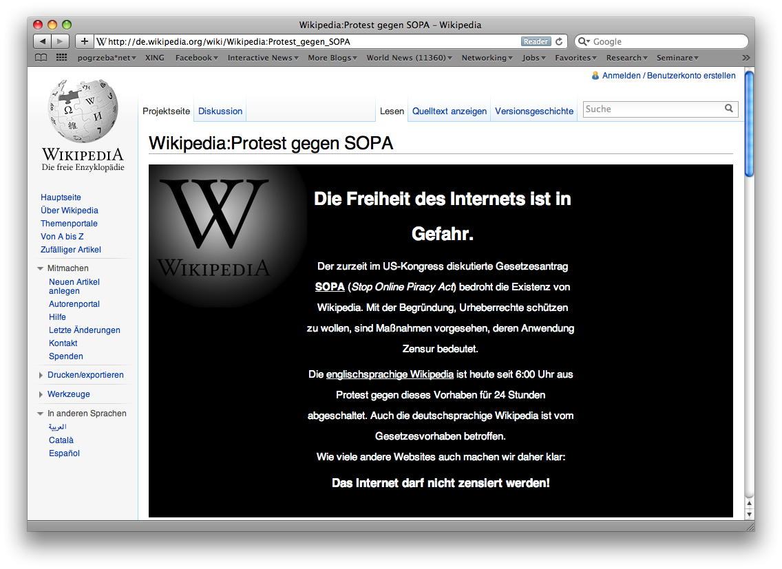 Wikipedia offline Jan 18 2012