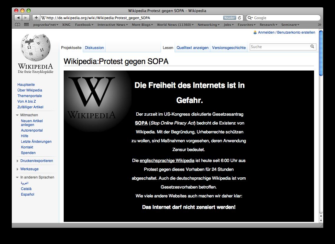 Wikipedia offline Jan 18 2012